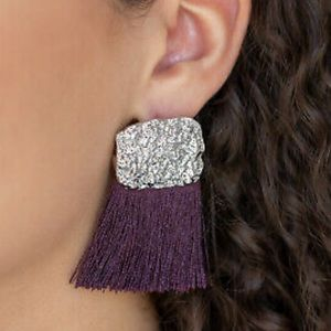 Plum fringe earrings